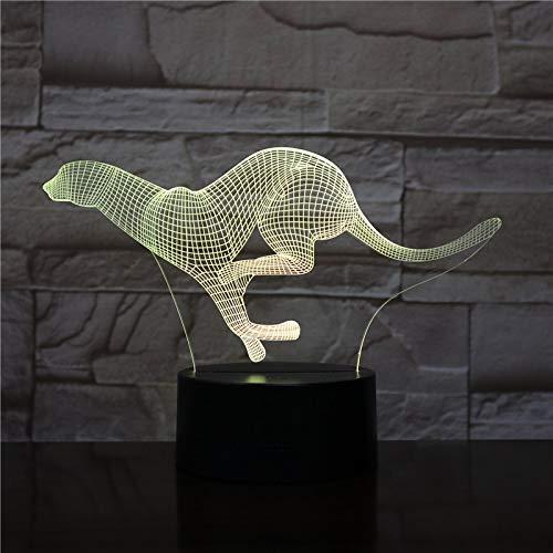 Laufender Gepard Acryl 3D LED Nachtlicht Tischlampe Nachttisch Dekoration Kinder Geschenk