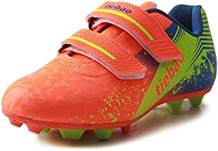 T&B Soccer Shoes Cleats Kids Outdoor Sports Football Boots Low-top Orange/Green 76660A-Ju-33-2.0US