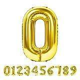 Globo Número Gigante Metalizado – Numeros Gigantes y Metalizados 0 1 2 3 4 5 6 7 8 9, 30 40 50 - Globos para Fiesta y Decoración – Globos de Cumpleaños Boda y Aniversario (Oro, 0)