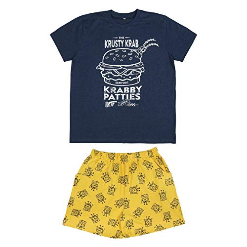 Cerdá Pijama Hombre Corto Bob Esponja de Color Azul Náutico Juego, XL