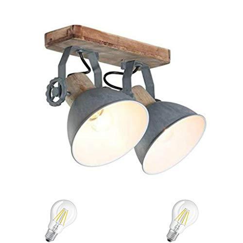 STEINHAUER 7969GR Deckenspot Deckenlampe Retro Vintage Industrie Holz Metall Lampe Wandleuchte 2 flammig grau,Edison Retro 7W LED !