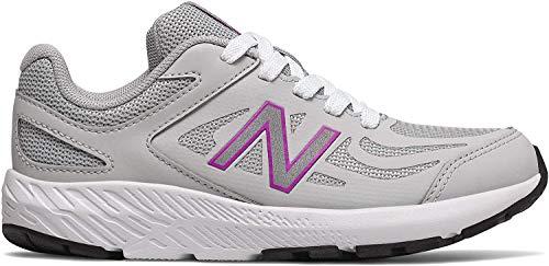 New Balance Kid's 519 V1 Lace-Up Running Shoe, Light Aluminum/Voltage Violet, 12 M US Little Kid