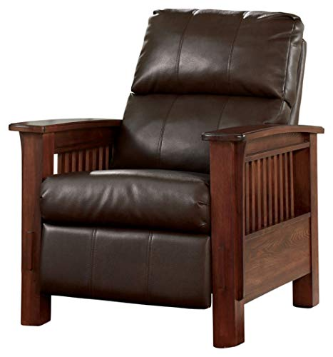 Signature Design by Ashley - Santa Fe Casual Faux Leather High Leg Recliner- Push-Back Reclining,...