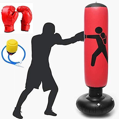 ZZX Aufblasbarer Boxsack Boxsack Aufblasbare Druckpumpe Tower Bag Boxen Fitness Training Druckentlastung Rebound Sandsack Mit Boxhandschuhen Und Fußpumpe