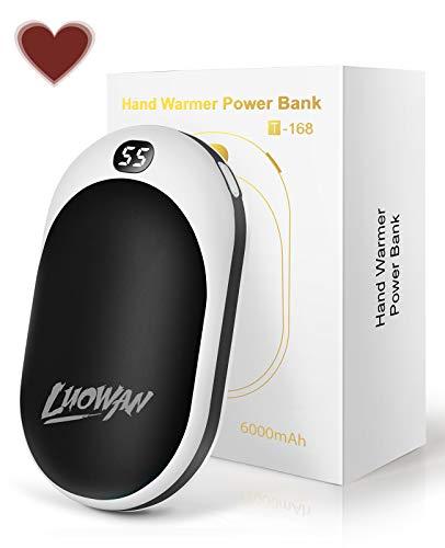 LUOWAN Calentadores de Manos USB Recargables 6000mAh Mini Cargador,8 Horas Larga Duración, Portátil Bolsillo ,Calentador de Mano de Reutilizable-Negro