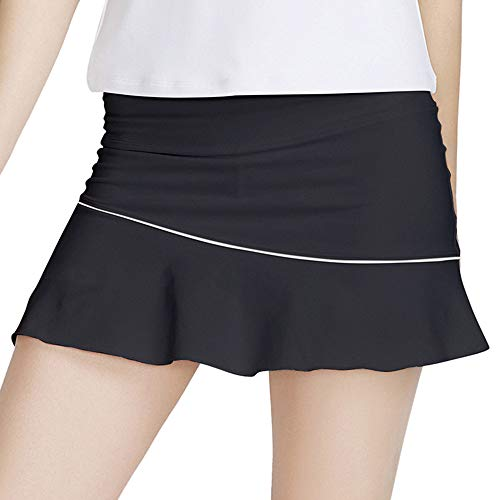 Rainbow Tree Women's Athletic Pleated Tennis Golf Skirt with Shorts Running Skort (Black01, L)