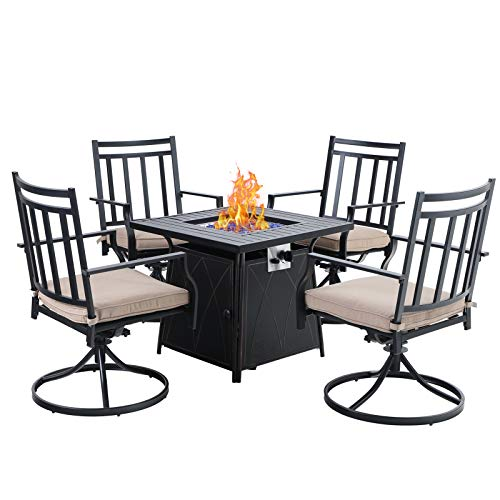 "Sophia & William Gas Fire Pit Table Set 5 Pieces Outdoor Dining Set Patio Furniture 28"" Propane Fire Pit Table 50,000 BTU Auto-Ignition with 4 Dining Swivel Chairs for Patio Lawn Garden Black"
