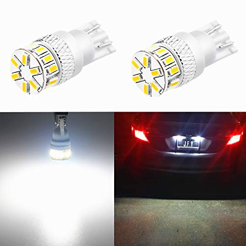Alla Lighting T10 194 LED Bulb 4014 18-SMD Xtremely Super Bright T10 Wedge LED 194 168 175 2825 W5W 6000K White 12V 194 W5W Bulb for 194 License Plate Tag Back-Up Reverse Light Lamp Bulbs (set of 2)