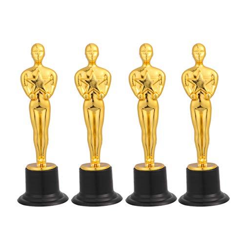 Amosfun trofeos de Oro Trofeo Oscar Trofeo Ganador del Premio trofeos de Copas para Ceremonia Regalo de Agradecimiento premios Deportivos Suministros para Fiestas Oscar 4 Piezas