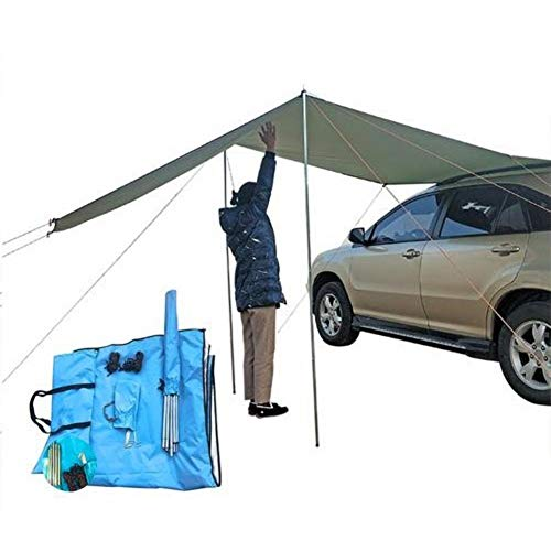 Car Side Awning, Waterproof Rooftop Car Sun Shelter, Auto Canopy Camper Trailer Tent Roof Top for SUV Minivan Hatchback Camping Outdoor Travel 5-6Persons