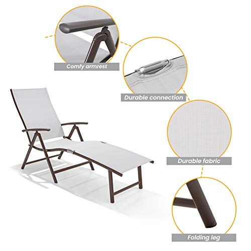Crestlive Products Aluminum Beach Yard Pool Folding Recliner Adjustable Chaise...
