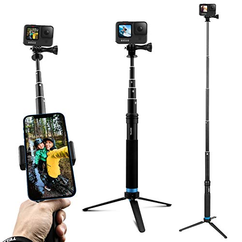 AuyKoo Teleskop Selfie Stick mit Stativ wasserdichte Aluminiumlegierung Handheld Selfie-Stangen für GoPro Hero 9 Black 8 7 6 5 Black GoPro Max Fusion Kameras Insta360 ONE R 4K DJI Pocket 2 Akaso