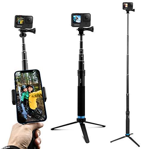 AuyKoo Palo Selfie Trípode Impermeable para Gopro, Extensión Aleación de Aluminio Selfie Stick Monopié Accesorios para GoPro Hero 9/8/7/6/5/4/3 Black Insta360 ONE R DJI OSMO Action Camara Xiaomi