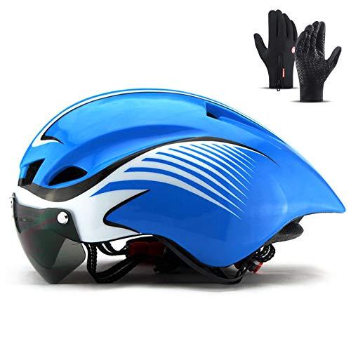 Casco de bicicletas para bicicletas, casco de montar a caballo adulto Gafas magnéticas Ajustable Streaminado de agua de gota de agua Casco de equitación para balance de patinaje de rodillo 22-24 en,D