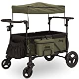 Jeep Deluxe Wrangler Stroller Wagon by Delta Children - Includes Cooler Bag, Parent Organizer and Car Seat Adapter, Black/Green