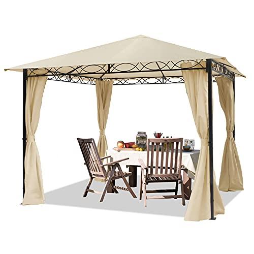 TOOLPORT Garden pavilion 3x3m waterproof pavilion with 4 side panels/curtains garden tent 180g/m² in beige roof tarpaulin Party Tent