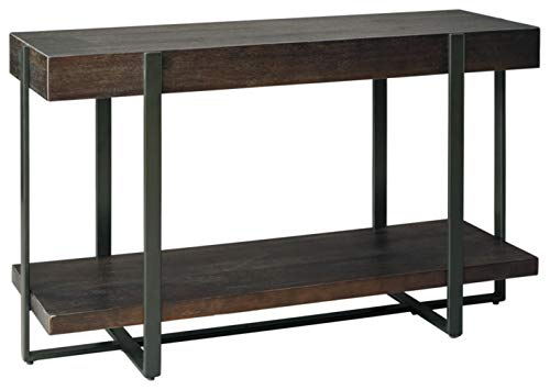 Signature Design by Ashley - Drewing Urban Wooden Sofa Table w/ Shelf, Brown