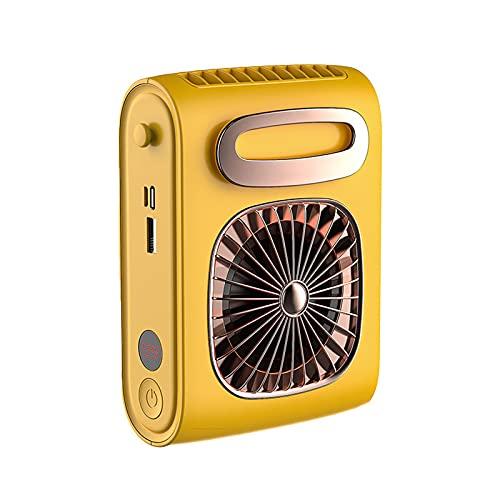 ZiFei Ventilador de Cuello Manos Libres Ventilador Personal de Cintura con Batería de Recarga Colgante Collar Ventilador Aire Acondicionado,Amarillo