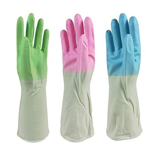 N/A 3 pares de guantes de cocina impermeables y reutilizables, de goma de manga larga