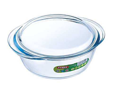 Pyrex Essentials Glas Runde Kasserolle Hohe Beständigkeit 1,6 L (+ 0,5 L Deckel)