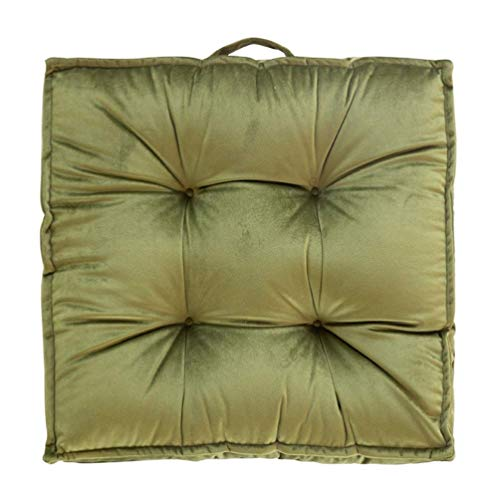 L.TSN Indoor Outdoor Chair Seat Cushions, Solid Home Patio Furniture Cushions, Square Thicken Decorative Floor Seat Pad, for Adults and Kids,Green