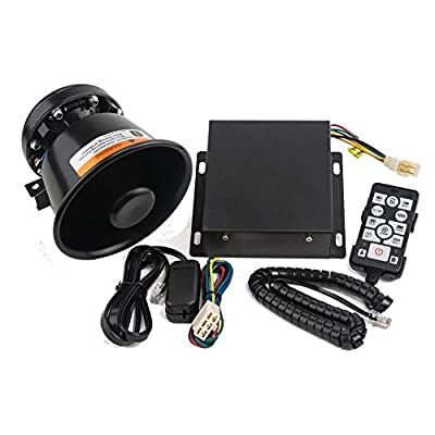 YHAAVALE 9200E Car Police Siren & Metal Black Round Cone Speaker,DC12V 100W Multi-Tones Wireless Remote Control Emergency Horn Sound PA System for Police Car