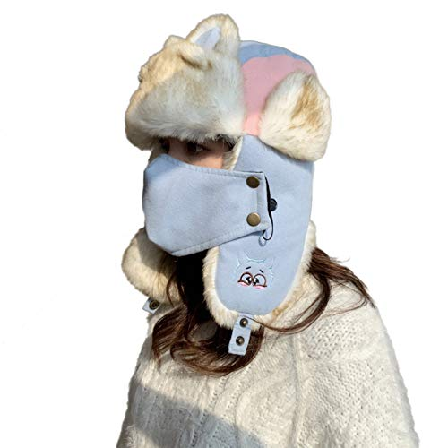 guangruiorrty Winter Plush Lined Warm Trapper Hat with Face Kou Zhao Cat Ears Earflap Cap for Women Men with Light blue