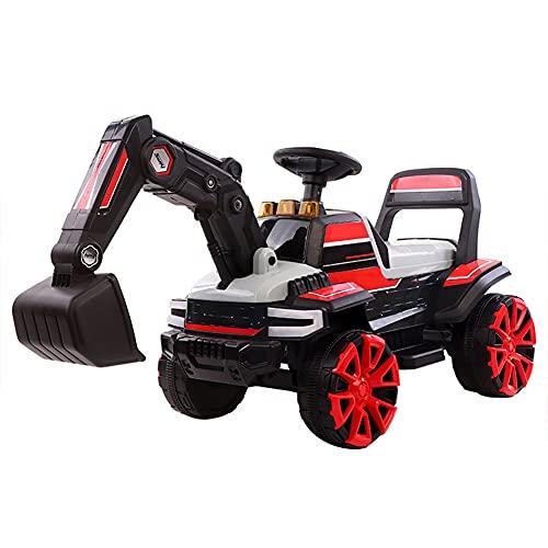 LYXCM Excavadora motorizada para niños, Tractor con Pedal de Rueda eléctrica con Luces y música   Juguete al Aire Libre del Juego de simulación de la Vespa del excavador