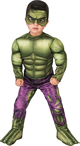 Rubie's unisex baby Marvel Super Hero Adventures Deluxe Infant and Toddler Costumes, Hulk, Toddler US
