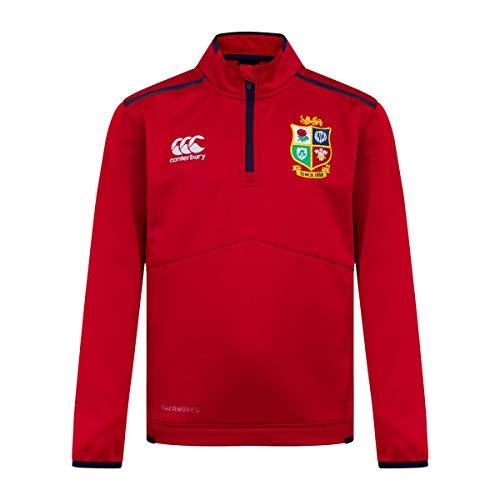 Canterbury Rugby Junior Thermoreg-Fleece-Oberteil mit Viertelreißverschluss von New Zealand British and Irish Lions S Rot - Tango Red