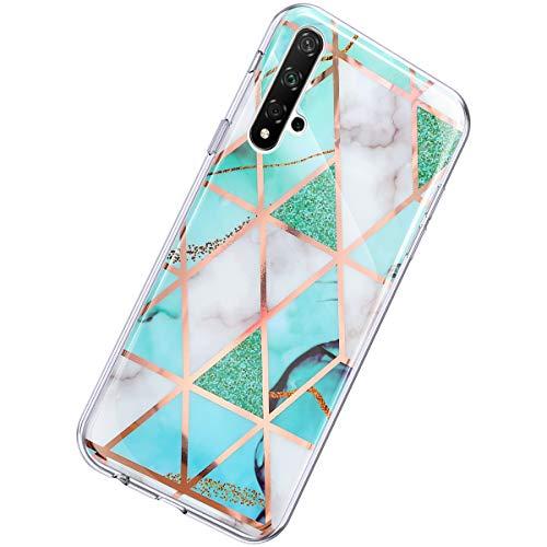 Herbests Kompatibel mit Huawei Honor 20 Hülle Glänzend Glitzer Marmor Muster Schutzhülle Weich Silikon Ultra Dünn Handyhülle Handytasche Durchsichtige Silikon Hülle Case,Marmor Weiß Grün