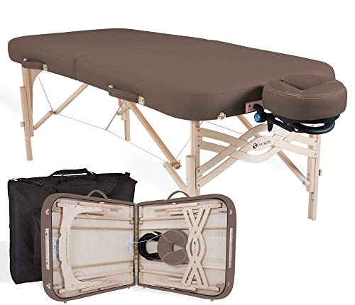 """EARTHLITE Premium Portable Massage Table Package SPIRIT - Spa-Level Comfort, Deluxe Cushioning incl. Flex-Rest Face Cradle & Strata Face Pillow, Carry Case (30/32"""" x 73"""") - Made in USA, Latte"""