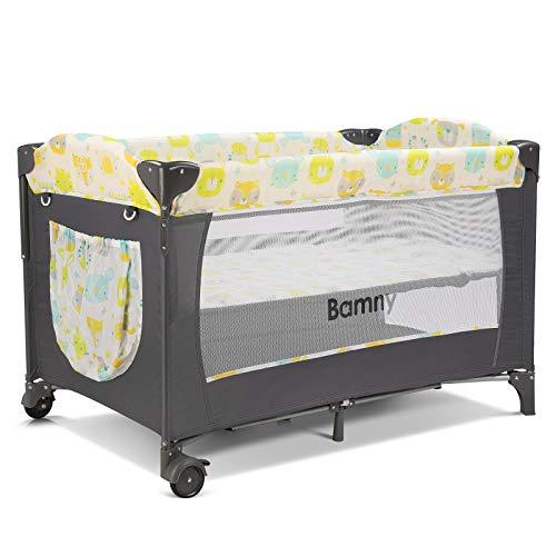 Bamny Baby Reisebett Faltbar Kinderbett Beistellbett inkl. Mückennetz Matratze Wickelauflage Windel Organizer seitlicher Ausstieg Belastbar bis 25kg