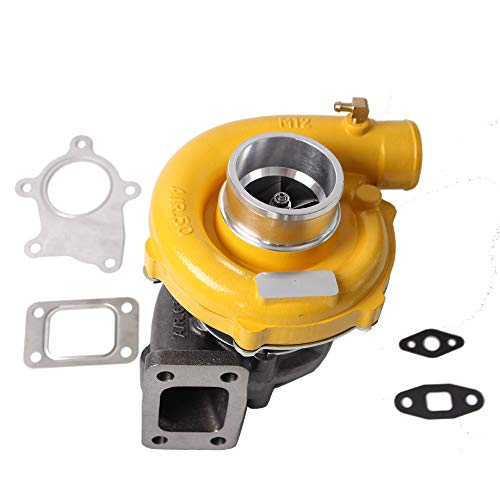 Hybrid T3/T4 T3T4 T04E Turbo 0.63 A/R .50 A/R 5 Bolt 400+HP Boost Stage 7psi-21psi Oil Cooled TO4E Turbocharger Racing+ Gaskets Yellow Finish