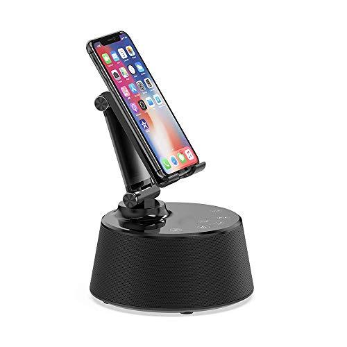 ZED-wekker met draadloos opladen, 30 W luidspreker, laadstation met geïntegreerde microfoon voor handsfree, USB snel opladen en Bluetooth voor iPhone XS Max, Xs, Xr, X, 8, 8 Plus, zwart