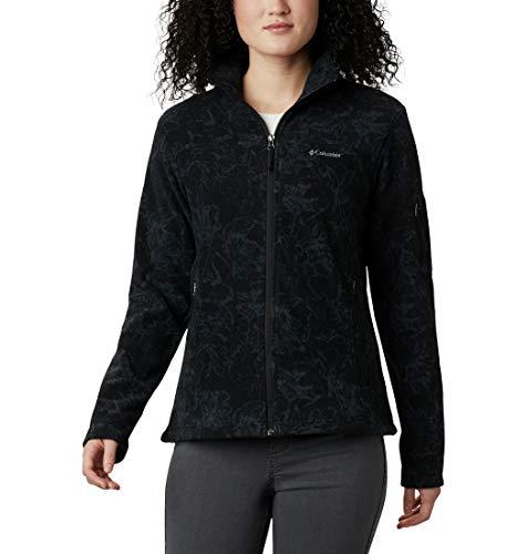 Columbia Fast Trek Forro Polar Con Cremallera Estampado, Mujer, Negro (Black Brushstroke Floral), S