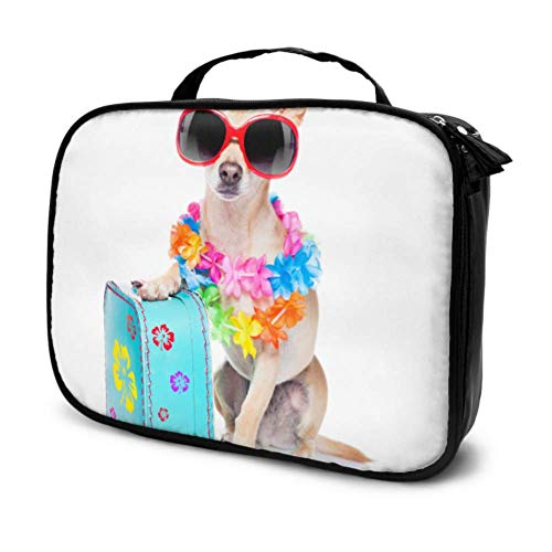 Happy Suitcase Dog Puppy Travel Makeup Pouch Small Makeup Pouch for Women Mens Cosmetic Travel Bag Multifunction Printed Pouch for Women