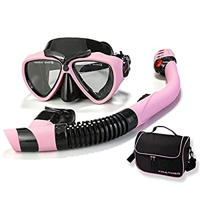 FinaTider Snorkel Mask Diving Mask Panoramic Wide View Watertight and Anti-Fog Lens Mask Dry Top Collapsible Snorkel Professional Snorkeling Set Adult Youth
