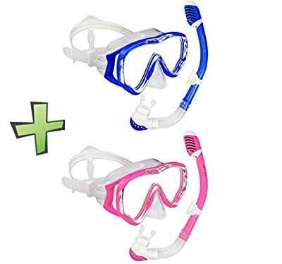 WACOOL Snorkeling Snorkel Package Set for Kids Youth Junior, Anti-Fog Coated Glass Diving Mask, Snorkel with Silicon Mouth Piece,Purge Valve and Anti-Splash Guard (DarkBlue+Pink).