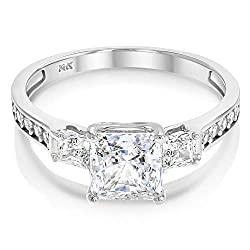 Ioka - 14k Solid Yellow OR White Gold Engagement Ring