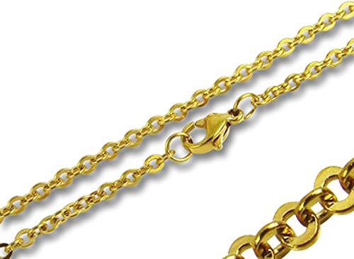 Amanto Elid Unisex ketting - 316L staal goud - anker - jasseron - 2,4mm - 50cm