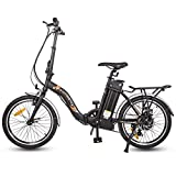 ECOTRIC 20' Folding Electric City Bicycle Ebike Alloy Frame 350W Gear Rear Motor 36V/10AH Removable Lithium Battery LED Display Pedal and Throttle Assist (Black)