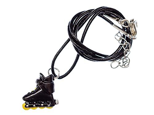 Miniblings Rollerskates Inliner Kette Halskette Inlineskates Rollschuhe schwarz gelb - Handmade Modeschmuck - Lederkette Leder