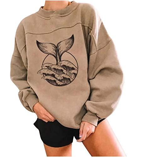 Masrin Mask Damen O-Ausschnitt Pullover Frauen Fisch Print Sweatshirt Retro Langarm Patchwork Tops Bluse(M,Khaki 2)