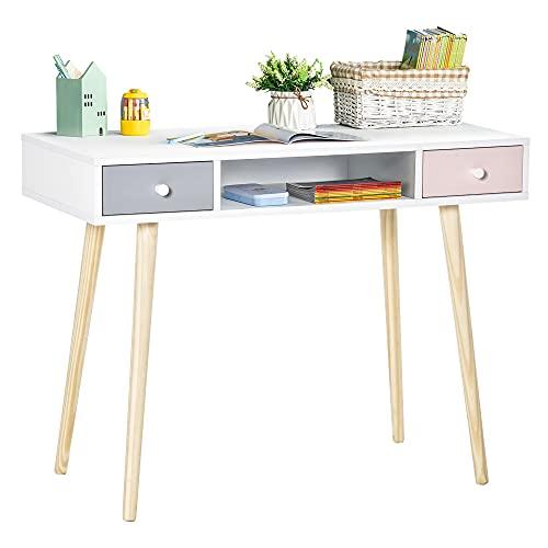 HOMCOM Mesa de Escritorio Infantil Mueble Aparador con 1 Compartimento Abierto y 2 Cajones Estilo Nórdico para Estudio Entrada Dormitorio 100x48x76,5 cm Multicolor