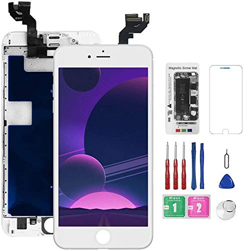 for iPhone 6s Plus Screen Replacement White with Front Camera+Earpiece+Speaker, Bsz4uov 3D Touch Screen LCD Digitizer Replacement for A1634, A1687, A1699, with Repair Kit