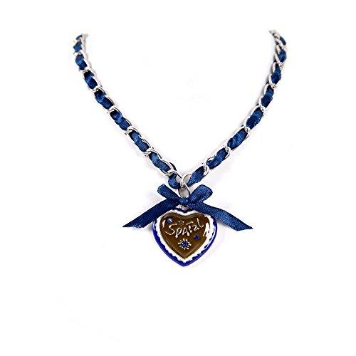 ALMBOCK Damen Dirndl Kette blau - Trachten Ketten mit Anhänger in Herzfrom - Trachtenhalskette blau