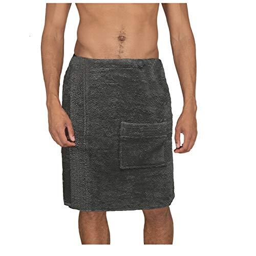 JEMIDI Toalla de sauna para hombre (tallas M-XXL, 100% algodón, sin bordado), color antracita