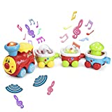 ASTOTSELL Set di Giocattoli per vagoni con Motore Elettrico 4 Pezzi, Set di trenini Colorati con Musica e macchinine per Bambini Giocattoli educativi precoci