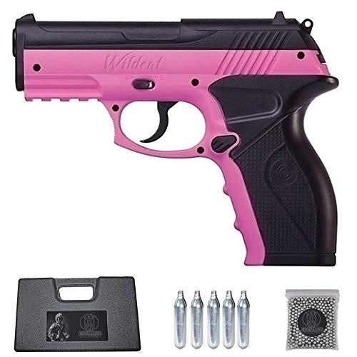 Ecommur. C11 Wildcat Pink crosman | Pistola de perdigones (Bolas BB's de Acero) de Aire comprimido semiautomática 4,5mm + maletín + balines y CO2